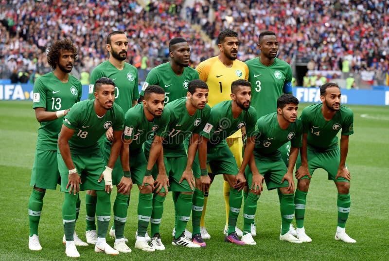 Landslag av Saudiarabien för öppningsmatch av den FIFA världen arkivfoton