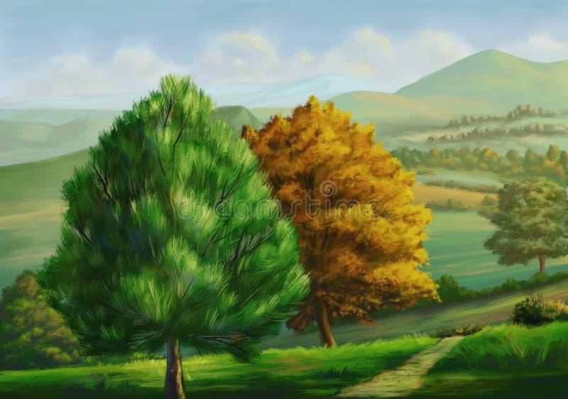 Landslandskap med träd royaltyfri illustrationer