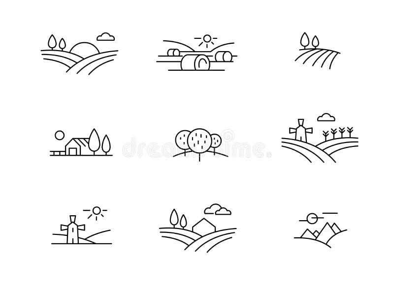 Landslandskapsymboler, tunn linje stil för vektor royaltyfri illustrationer