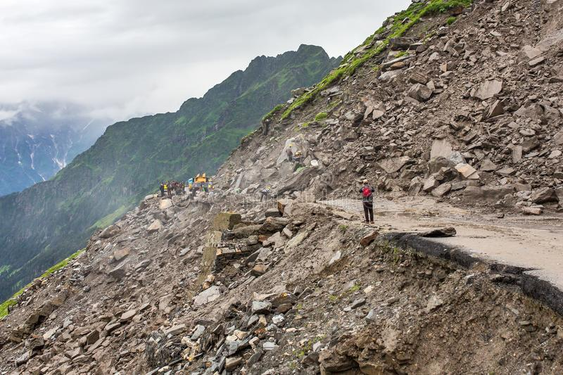 Landslide on the Manali - Leh Highway at the Rohtang pass area, HImachal Pradesh, India. stock images