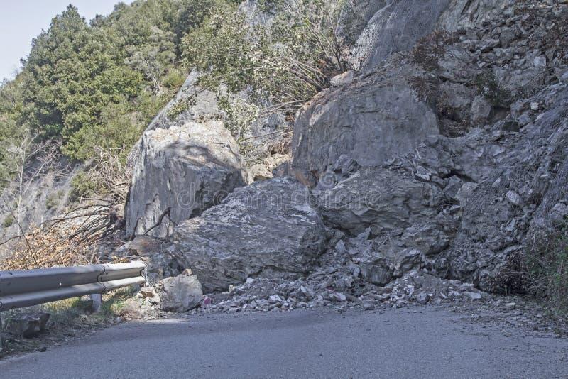 Landslide on a road stock images