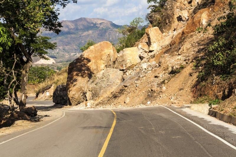 Landslide on the roadway in El Salvador stock photography