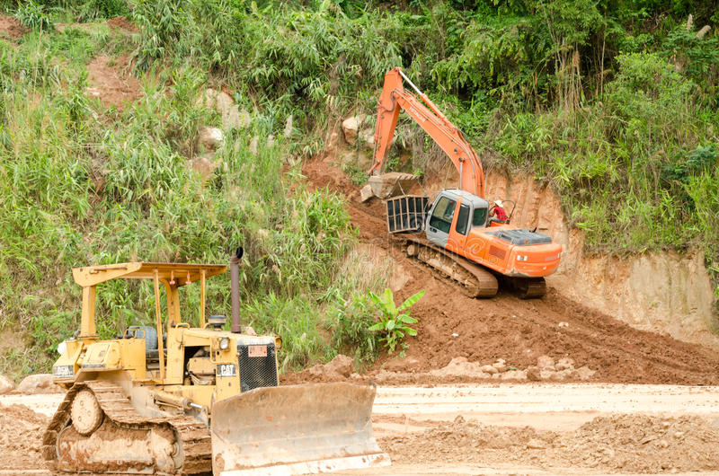Landslides during in the rainy season,Thailand. CHIANG RAI,THAILAND- MAY 25 : Natural disasters, landslides during in the rainy season at Mae Suai district on royalty free stock image