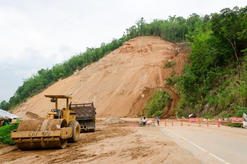 Landslides during in the rainy season,Thailand. CHIANG RAI,THAILAND- MAY 25 : Natural disasters, landslides during in the rainy season at Mae Suai district on stock photo