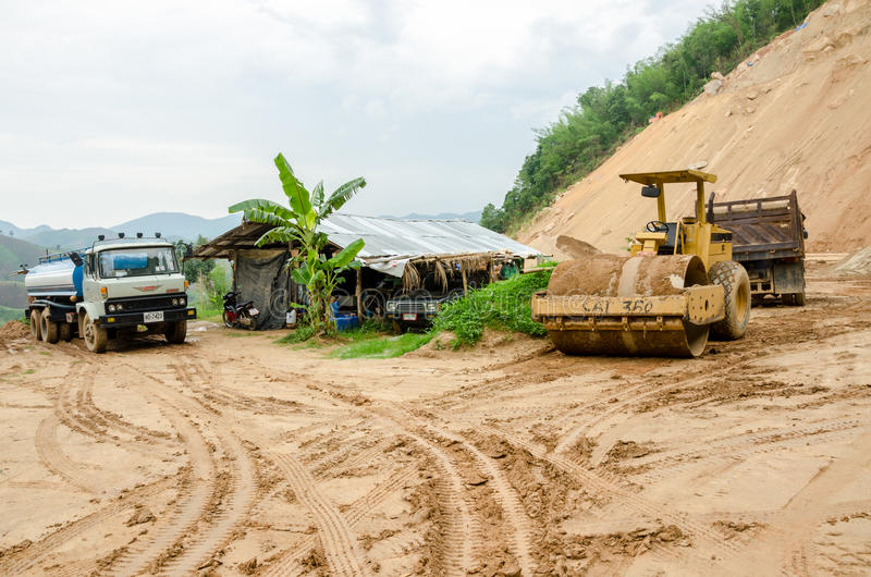 Landslides during in the rainy season,Thailand. CHIANG RAI,THAILAND- MAY 25 : Natural disasters, landslides during in the rainy season at Mae Suai district on stock photos