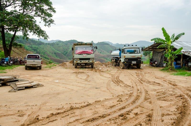 Landslides during in the rainy season,Thailand. CHIANG RAI,THAILAND- MAY 25 : Natural disasters, landslides during in the rainy season at Mae Suai district on royalty free stock photography
