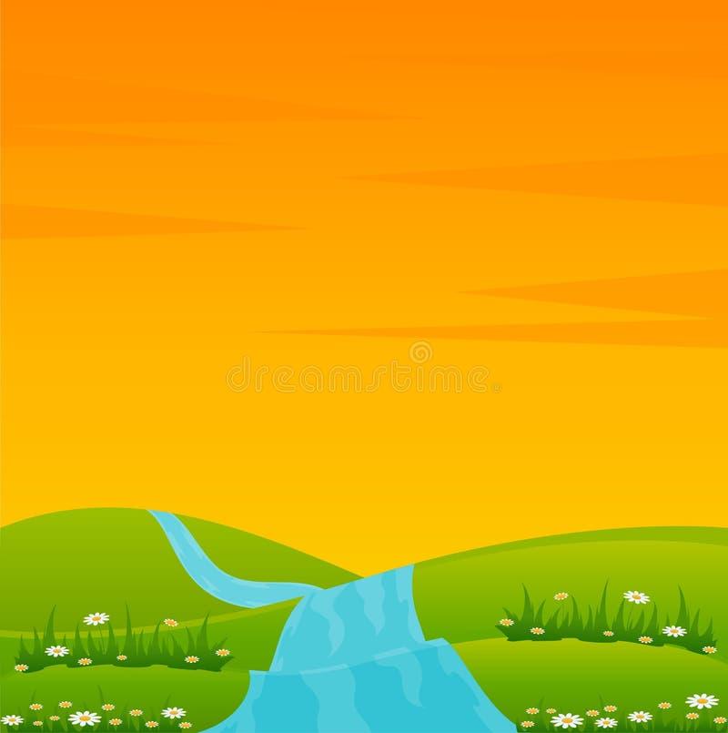 landsliggandeflod royaltyfri illustrationer