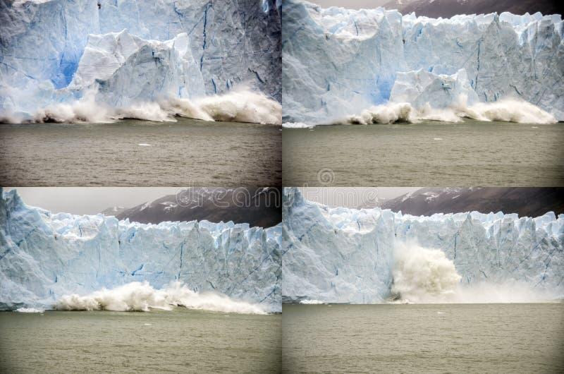 Landslip em Perito Moreno Glacier, Argentina imagem de stock