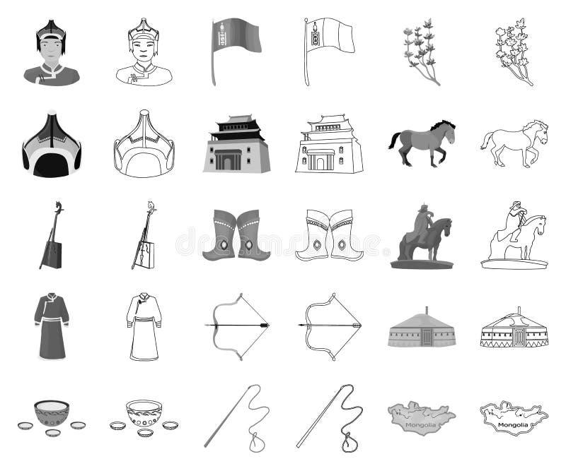 LandsMongoliet monokrom, översiktssymboler i den fastställda samlingen för design Rengöringsduk för materiel för territorium- och stock illustrationer