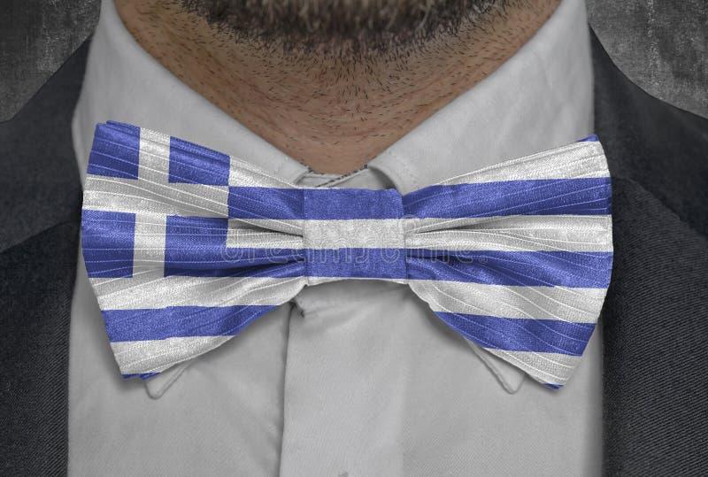 Landsnationsflagga av Grekland på dräkt för bowtieaffärsman arkivbilder