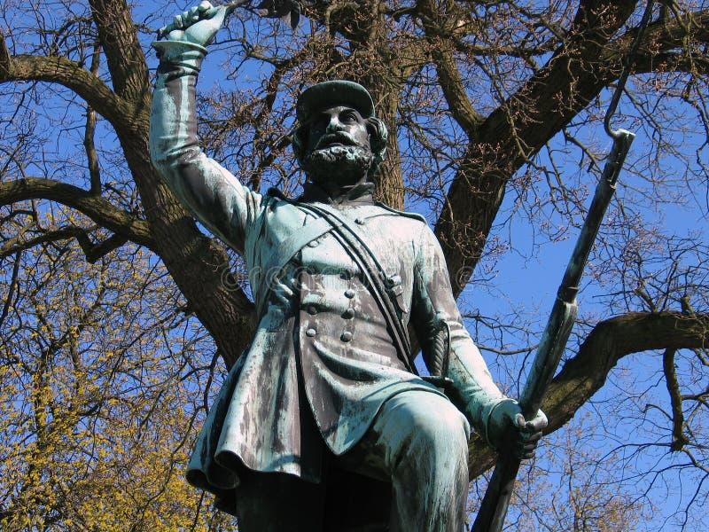 Landsoldaten het standbeeld Fredericia van Soldierin van de Voet, stock afbeelding