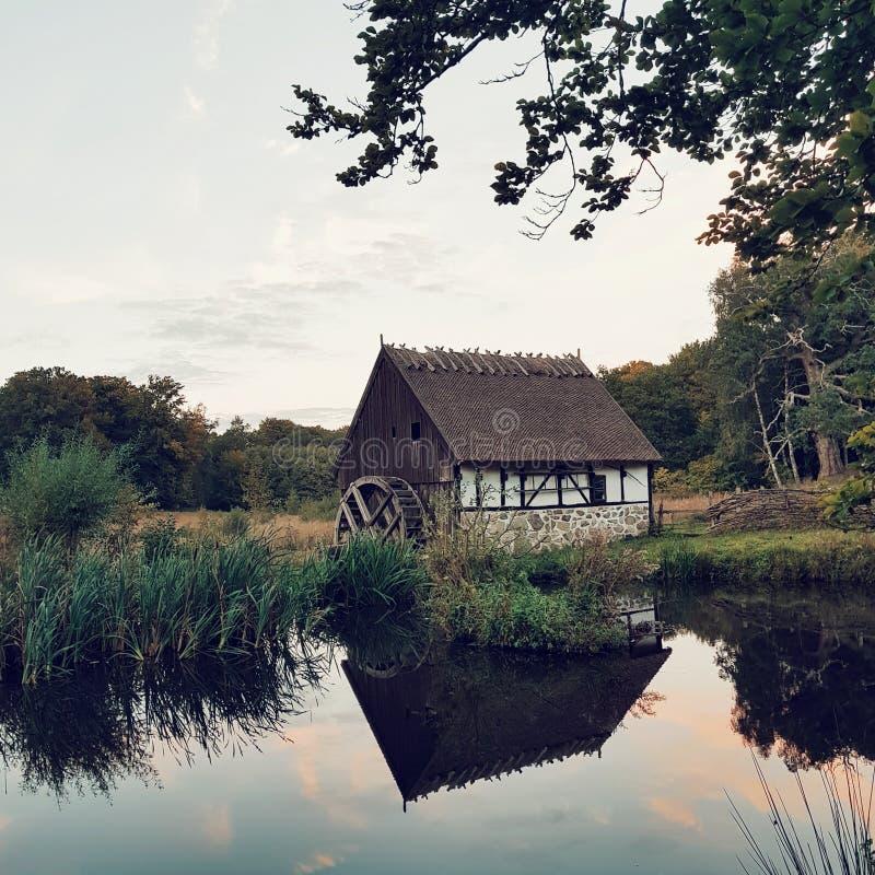 Landssidan i Sverige, hus, dammet, solnedgång och natur arkivbild