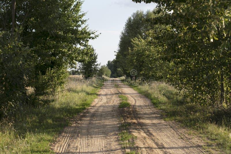 Landstraße, die zu das Feld führt lizenzfreie stockbilder