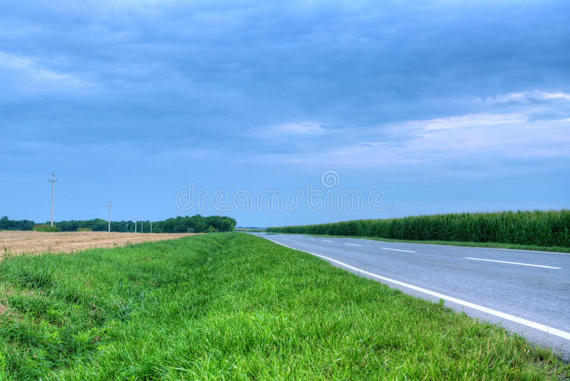 Landstraße durch das Getreidefeld lizenzfreies stockbild