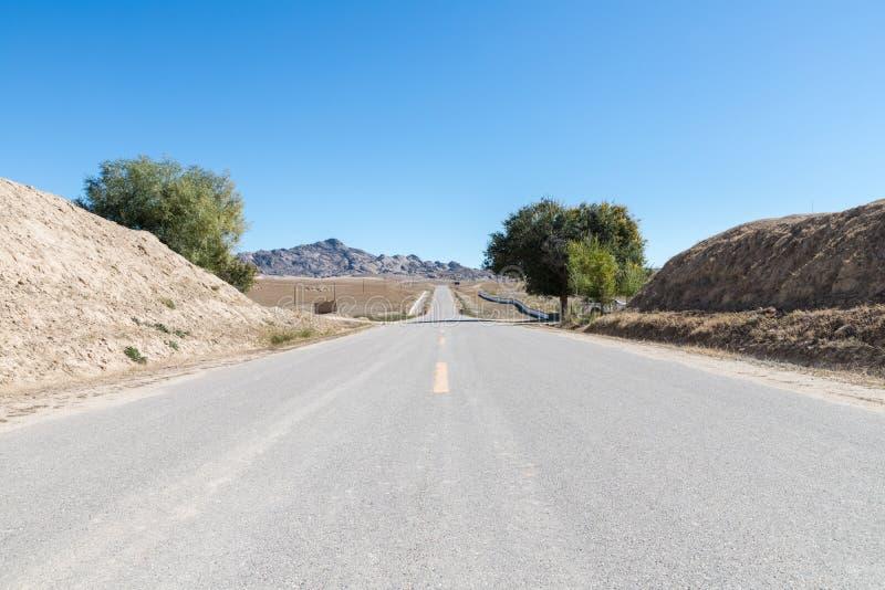 Landstraße durch das trostlose Dorf lizenzfreies stockfoto