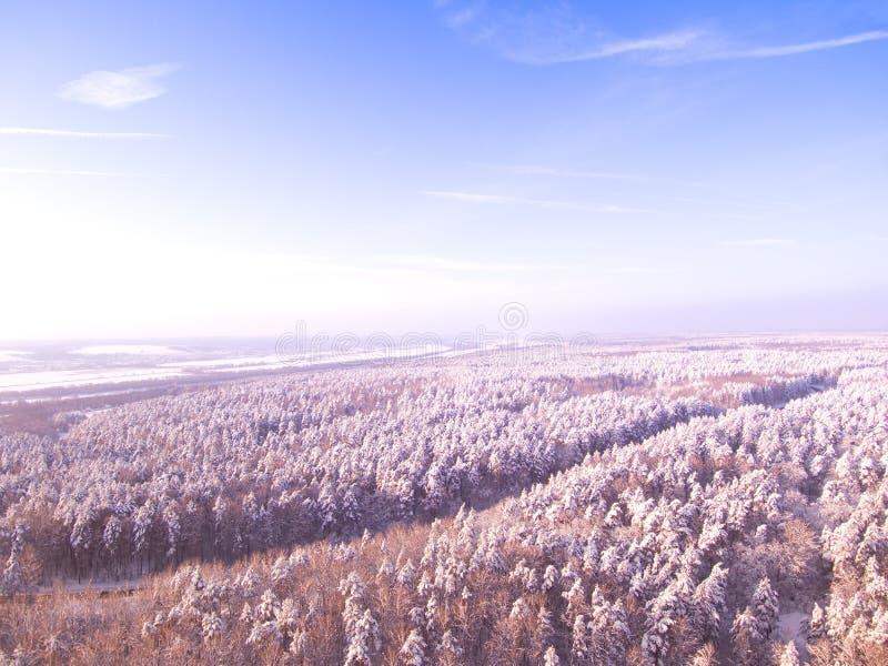 Landstraße durch die Winterwaldvogelperspektive auf Straße und Fluss auf Hintergrund Blauer Himmel stockbild
