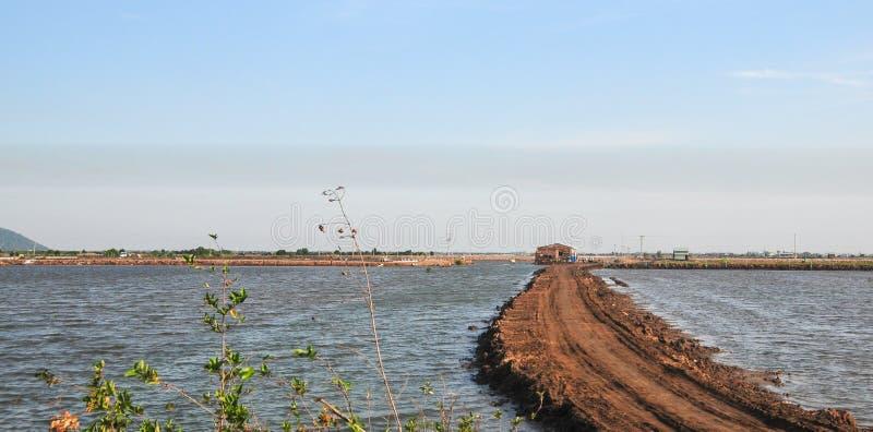 Landstraße mit dem See an Hong Ngu-Stadt in Dongthap, Vietnam stockfotografie