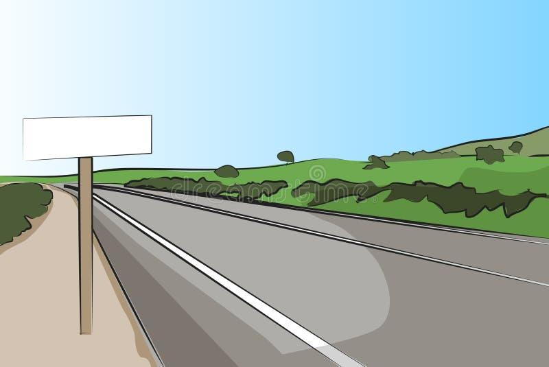 Landstraße mit Signal - vektorabbildung lizenzfreie abbildung