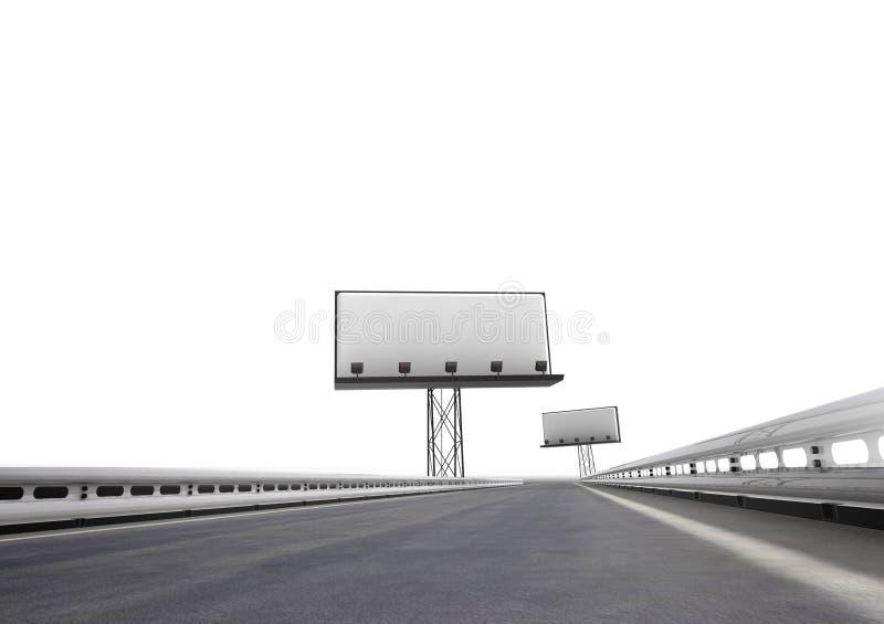 Landstraße mit zwei Anschlagtafeln fern lokalisiert auf Weiß vektor abbildung