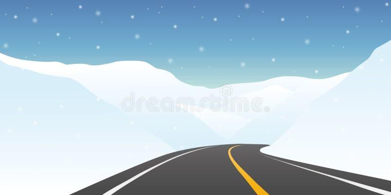 Landstraße zwischen der schneebedeckten Gebirgswinter-Reiselandschaft lizenzfreie abbildung