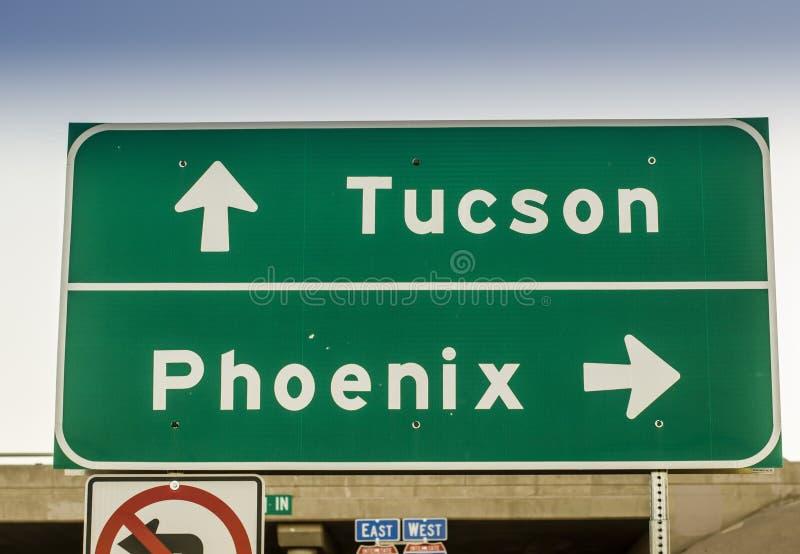 Landstraßen-Verkehrsschild USA Tucsons, Phoenix, Arizona lizenzfreies stockfoto