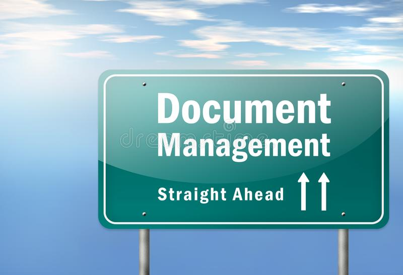 Landstraßen-Wegweiser-Dokumenten-Management stock abbildung