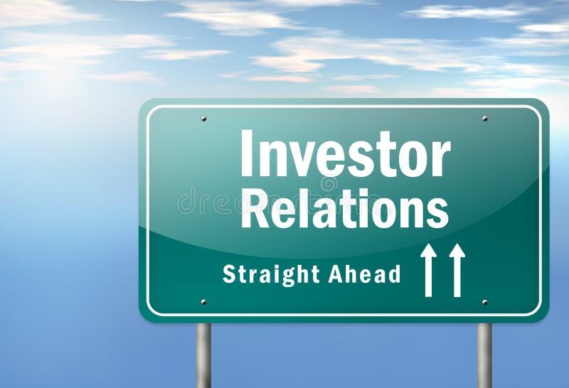 Landstraßen-Wegweiser-Investor Relations lizenzfreie abbildung