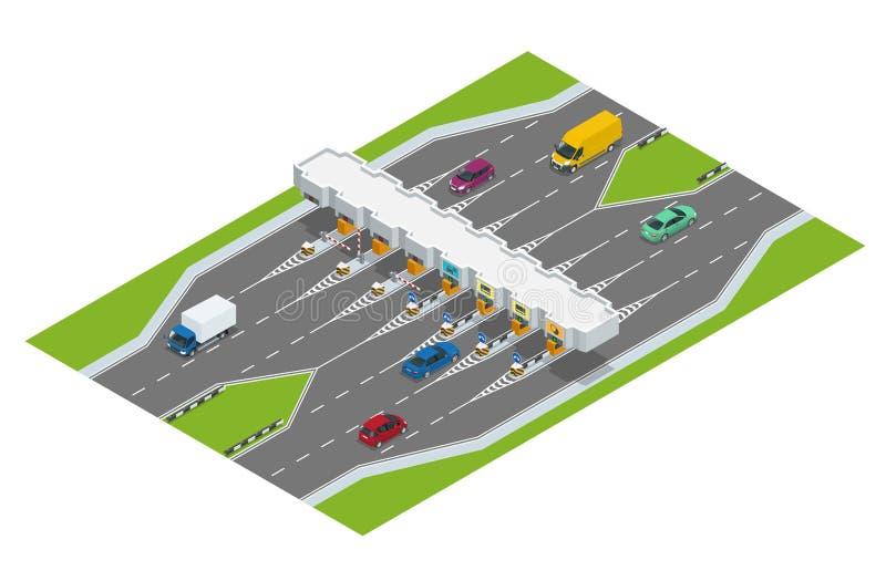 Landstraßengebühr Turnpike tollson Straßenzahlungskontrollpunkt mit Gebührnsperren auf der Autobahn, Autos und LKWs Flaches 3d lizenzfreie abbildung