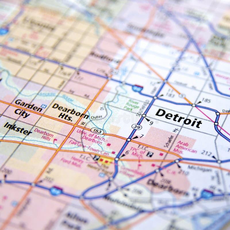 Landstraßenkarte von Detroit Michigan lizenzfreie stockbilder