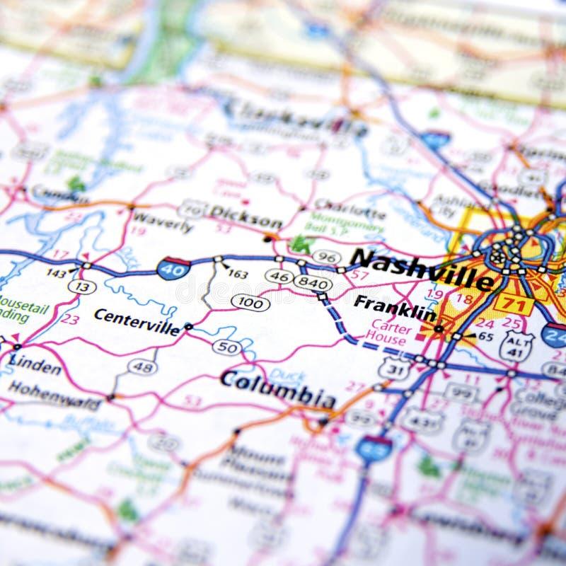 Landstraßenkarte von Tennessee lizenzfreie stockfotos