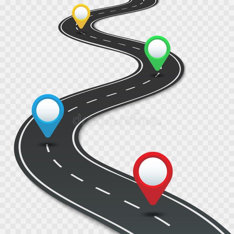Landstraßenschaltplan mit Stiften Autostraßenrichtung, gps verlegen Stiftautoreisenavigation und infographic Vektor des Straßenge stock abbildung