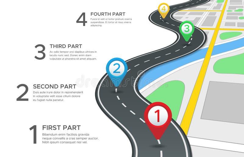 Landstraßenstraße infographic StraßenStraßenkarte, gps-Navigationsweisenweg und Stadtreise stecken Vektor des Wegweisers 3d fest vektor abbildung