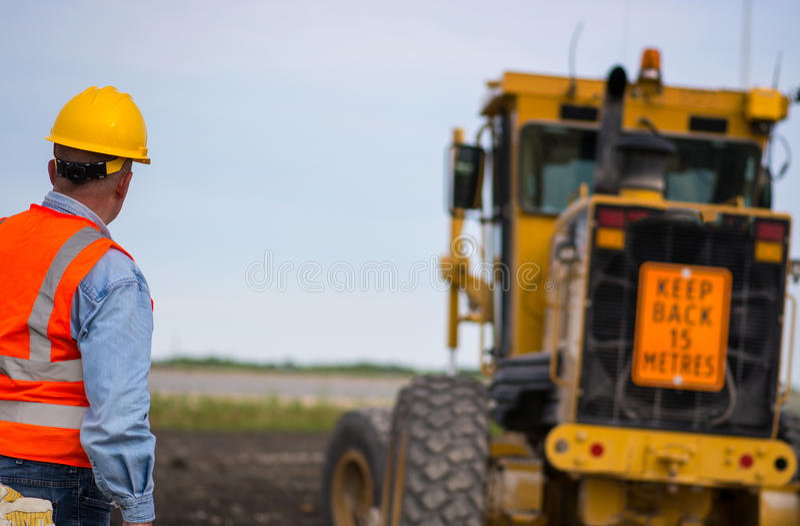Landstraßenstraßenbauarbeiter stockfoto