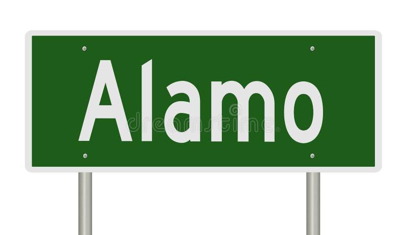 Landstraßenzeichen für Alamo Texas lizenzfreie abbildung