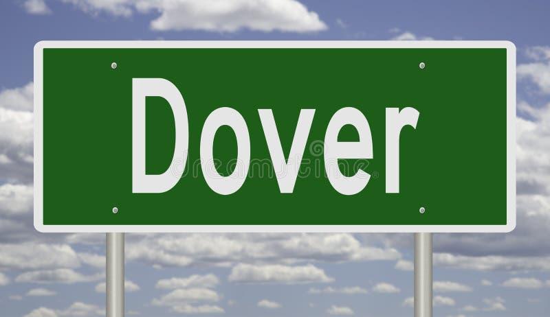 Landstraßenzeichen für Dover Delaware stockfotos