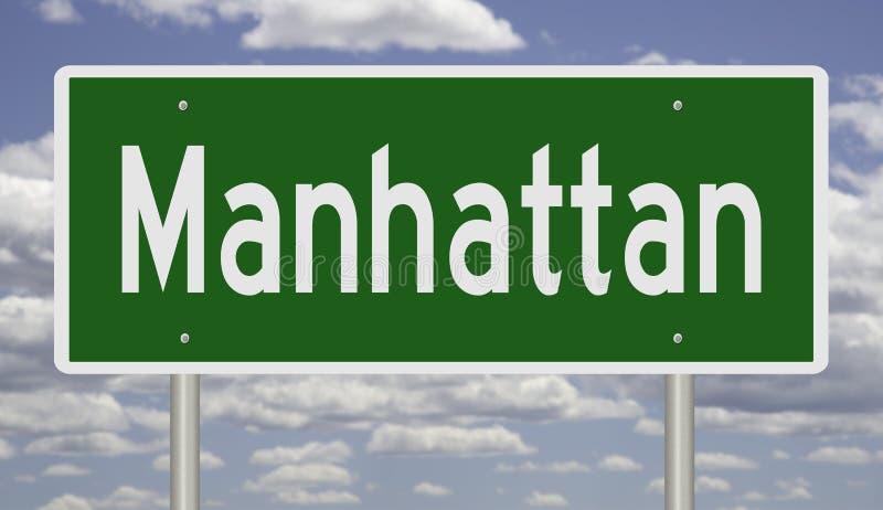Landstraßenzeichen für Manhattan lizenzfreies stockfoto