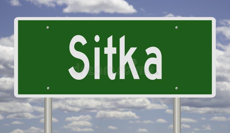 Landstraßenzeichen für Sitka Alaska stockfotos