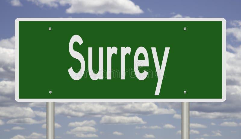 Landstraßenzeichen für Surrey stockfoto