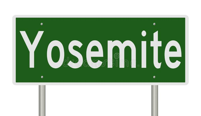 Landstraßenzeichen für Yosemite Nationalpark in Kalifornien lizenzfreie abbildung