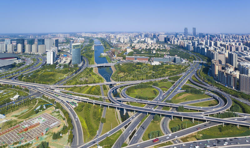 Landstraßenzhengzhou-Porzellan lizenzfreie stockfotos