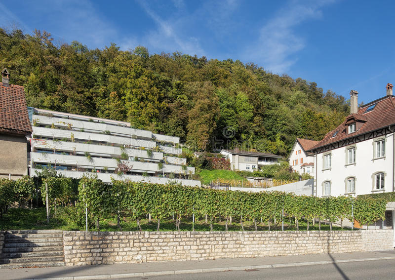 Landstrasse gata i Baden, Schweiz royaltyfria foton