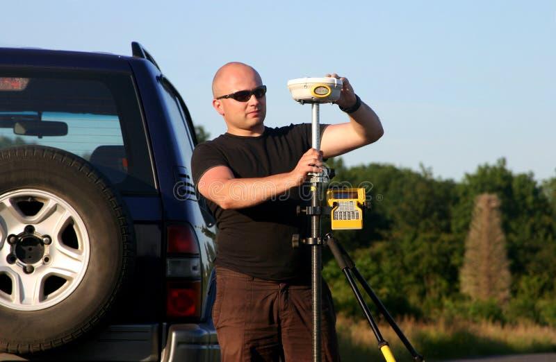 Landsurvey usando GPS immagini stock libere da diritti