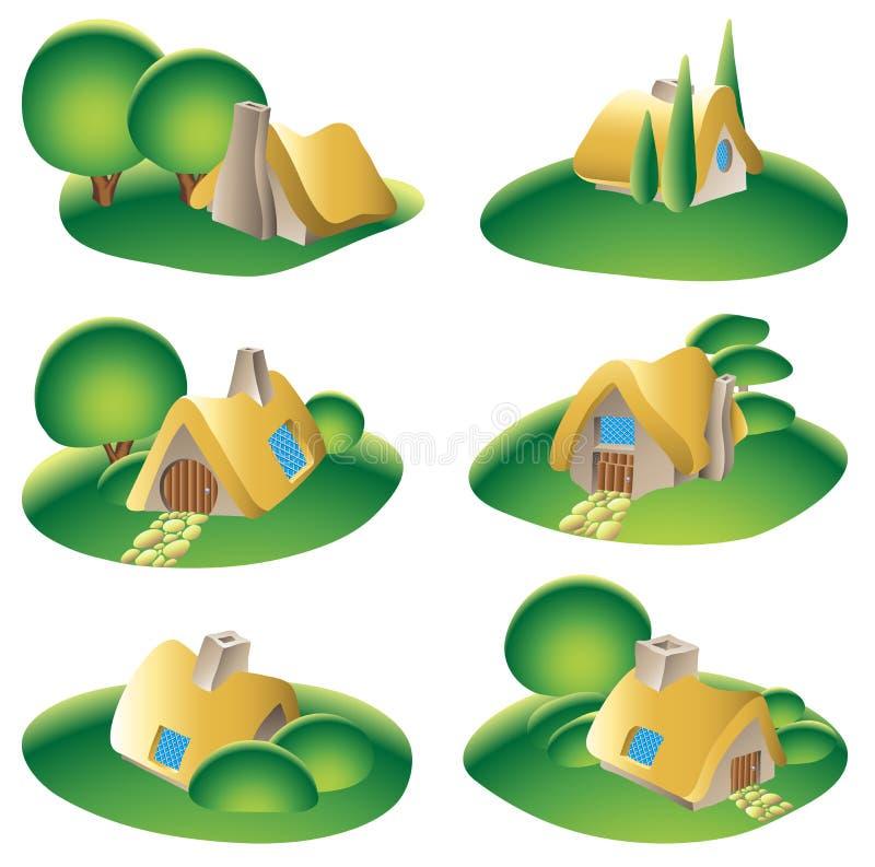landsutgångspunkter royaltyfri illustrationer