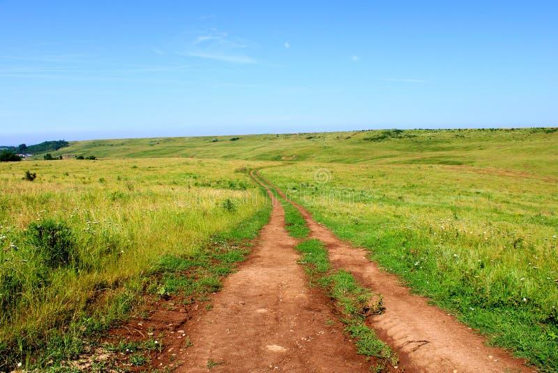 Landsväg, grönt gräs, äng, blå himmel på en sommardag arkivfoton