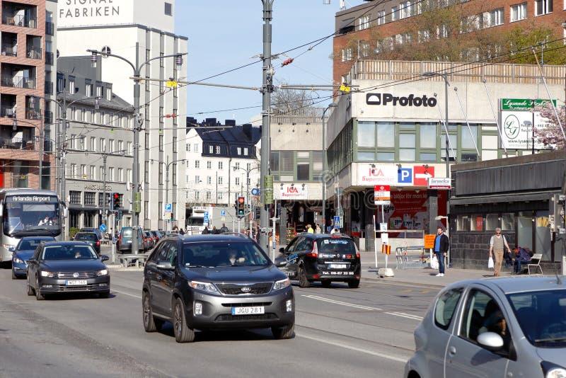 Landsvagen街道在Sundbyberg 库存图片