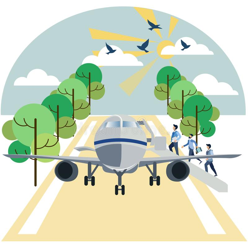 Landung auf Flugzeugpassagieren Im flachen Raster unbedeutender Art Karikatur lizenzfreie abbildung