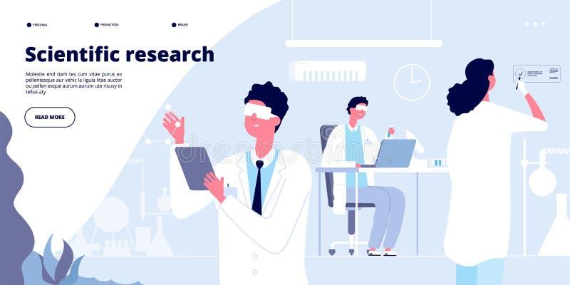 Landung der wissenschaftlichen Forschung Studenten im weißen Mantel, chemische Forscherdoktoren mit Laborausrüstung Molekularer I vektor abbildung