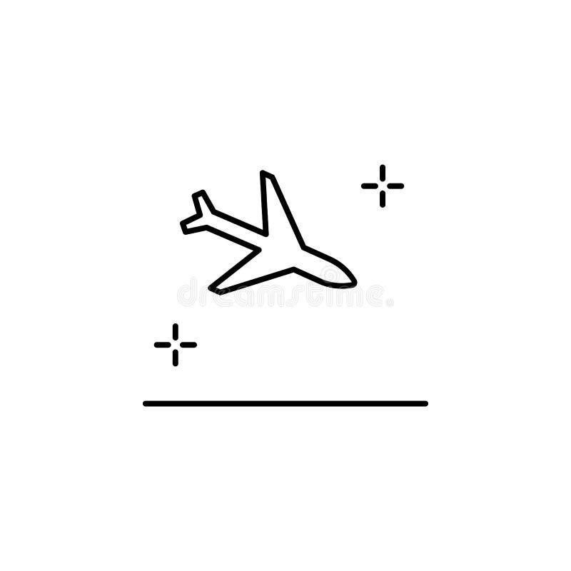 Landung, Flugzeug, Flughafenikone Element der Flughafenlinie Farbikone vektor abbildung