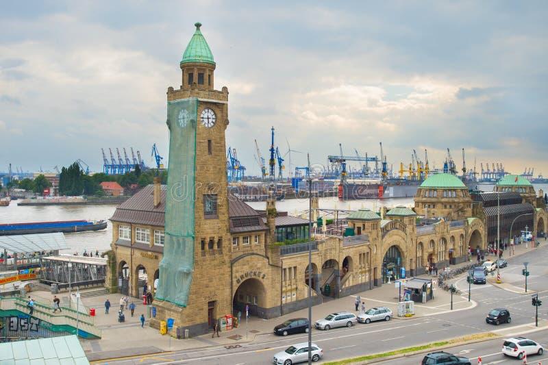 Landungsbrücken water station Hamburg Germany stock images