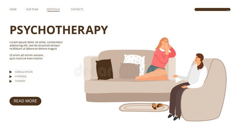 Landungsseite der Psychotherapie stock abbildung